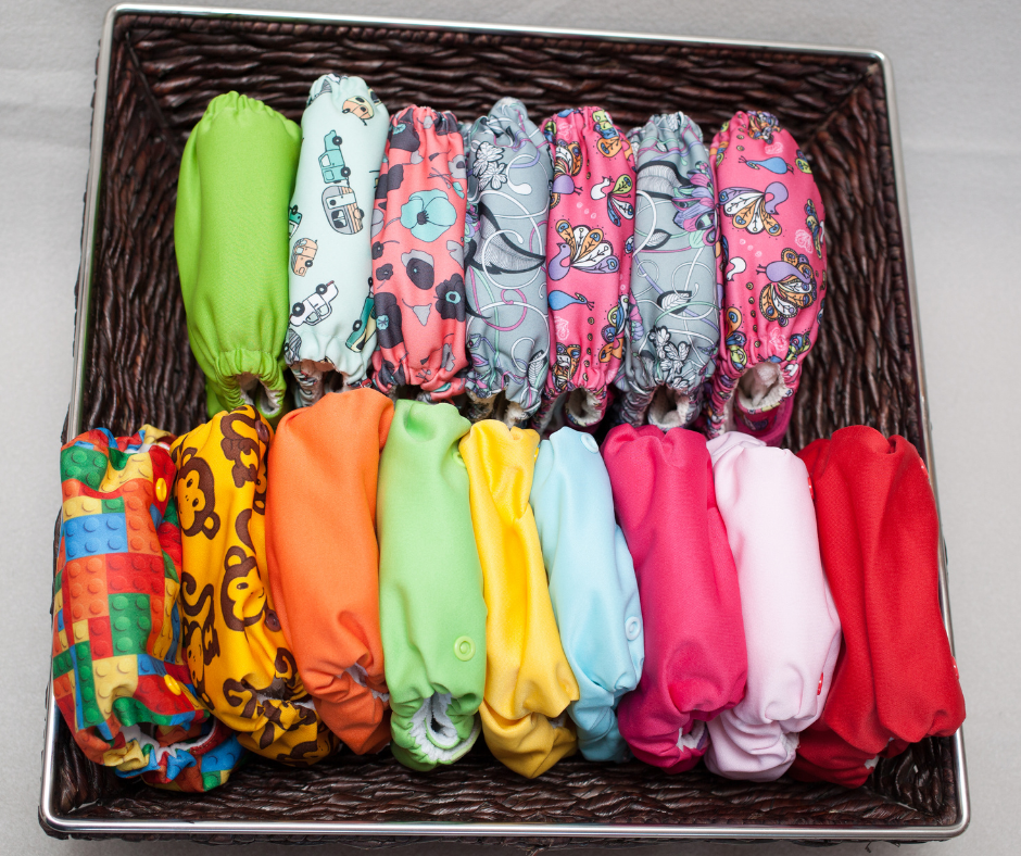 cloth diapers in bin